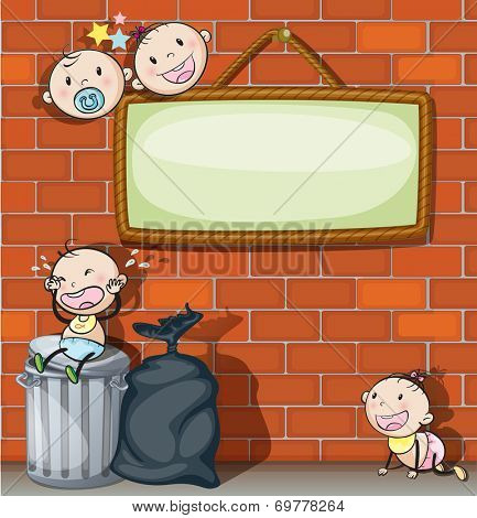 Illustration of a hanging empty signboard with infants