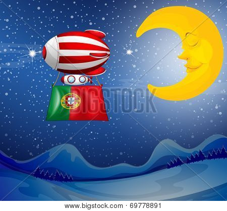 Illustration of a floating balloon with the flag of Portugal