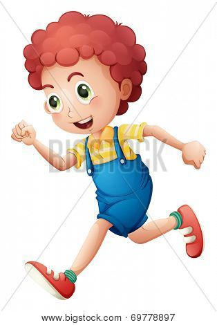 Illustration of a curly young boy running on a white background