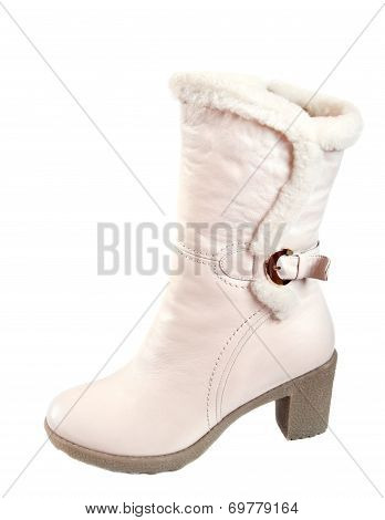Women's White Leather Shoes With A Furry Isolated On White Background