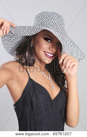 Beautiful Fashionable Woman Wearing a Hat