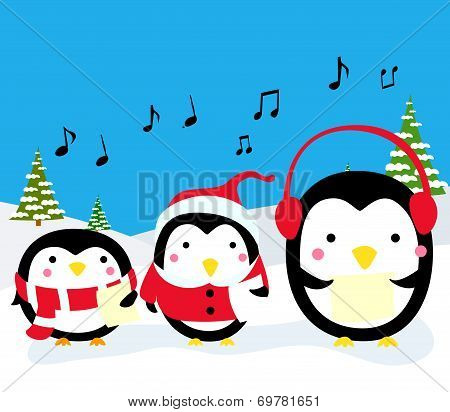 Penguins Christmas Carolers