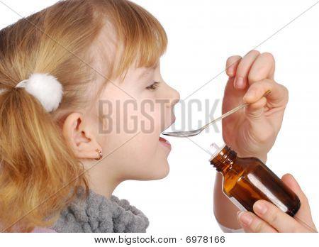 Little Girl Take Medicine