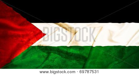 Palestine Flag On A Silk Drape Waving