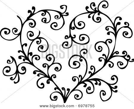 Romantic heart vignette. Eau-forte.