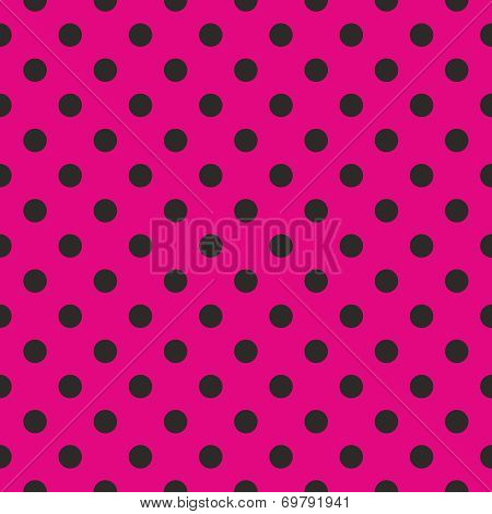Tile vector pattern with black polka dots on pink background