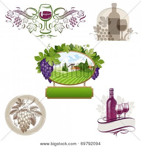 Set of wine & winemaking emblems & labels