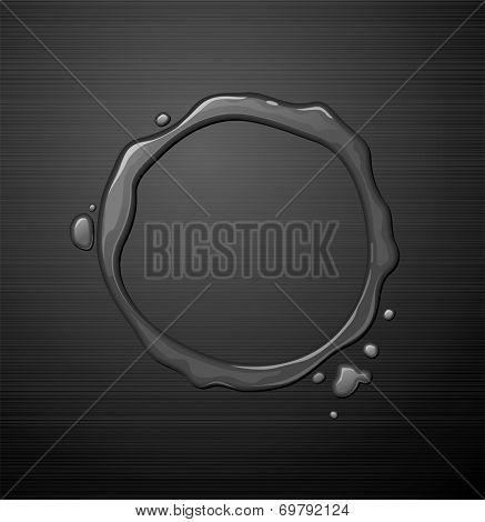 Water round frame on dark metal texture background