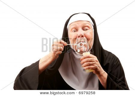 Funny Nun With Blowing Bubbles