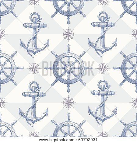 Seamless nautical background with hand drawn elements - ship steering wheel and anchor