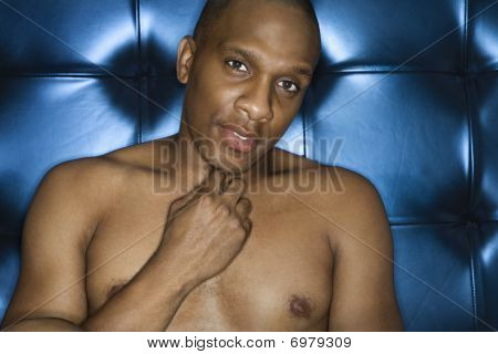 Handsome Young Man Shirtless And Smiling