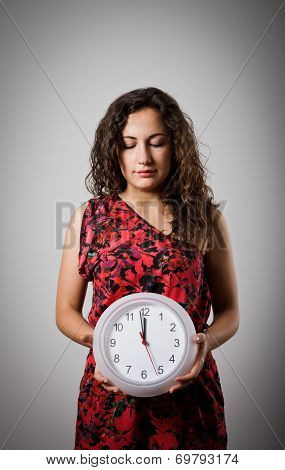 Girl And Clock.