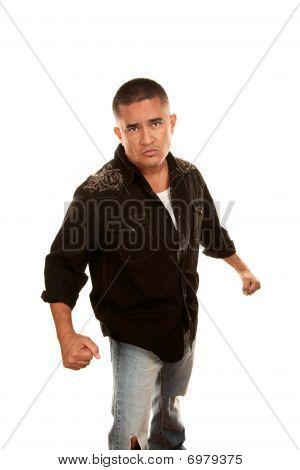 Hispanic Man Preparing For A Fight