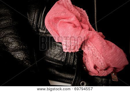 Womans Sexy Lace Panties And Leather Jacket
