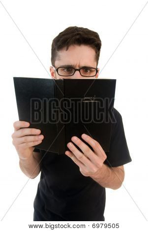 Nosy man reading