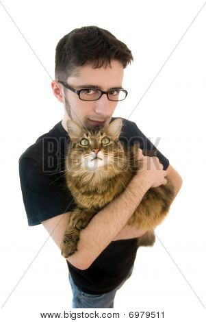 Man with maine coon cat