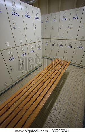 Row of steel lockers along the chair, Locker room for worker in job site, Keep personal belonging in