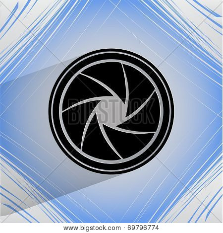 Photo camera diaphragm. Flat modern web button on a flat geometric abstract background