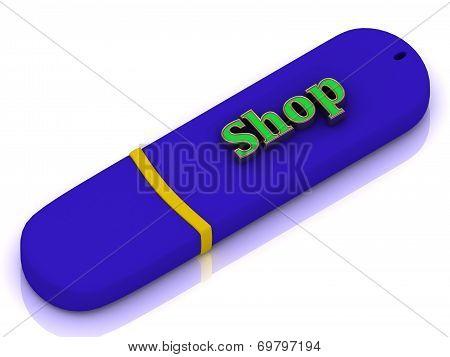 Shop - Inscription On Blue Usb Flash Drive