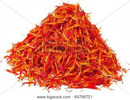 Heap pile of Saffron Stamens  isolated on white background