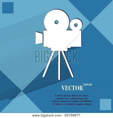 Videocamera. Flat modern web button   on a flat geometric abstract background