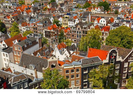 Amsterdam City View From Westerkerk, Holland, Netherlands.