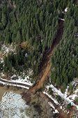 image of mudslide  - Mudslides scar the hillsides of Washington state following heavy rain on top of snow - JPG
