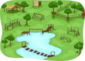 stock photo of boot camp  - Illustration Featuring a Camp with an Obstacle Course - JPG