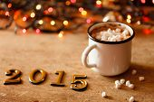 foto of illuminating  - 2015 Happy New Year greeting card  - JPG
