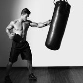 picture of boxing day  - Full length of a shirtless muscular boxer with punching bag in gym - JPG