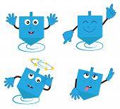 foto of dreidel  - Cartoon Dreidel in four different positions - JPG