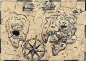 picture of buccaneer  - old nautical map - JPG
