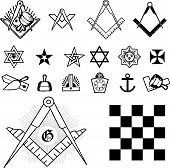 stock photo of freemason  - Set of symbol freemason masonic mason vector illustration silhouettes - JPG