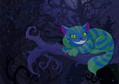 foto of alice wonderland  - Illustration of Cheshire cat sitting on a branch on the fairy forest background - JPG