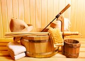 pic of sauna  - various sauna accessories in a wooden sauna - JPG