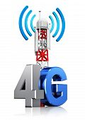 picture of antenna  - Mobile base station or TV transmitter antenna pylon with 4G sign symbol or logo isolated on white background with reflection effect - JPG