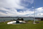 picture of artillery  - World War two artillery embankment on North Head - JPG