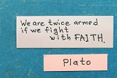stock photo of interpreter  - famous ancient Greek philosopher Plato quote interpretation with sticky notes on vintage carton board about Faith - JPG