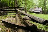stock photo of log fence  - A log cabin in the woods with a split - JPG