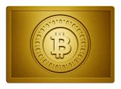 image of bronze silver gold platinum  - Golden plate with bitcoin stamp on it and clippingpath for white background removal - JPG