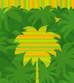 stock photo of jungle birds  - Striped tropical palm tree  - JPG