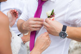 stock photo of lapel  - Groom and Bouttonniere - JPG