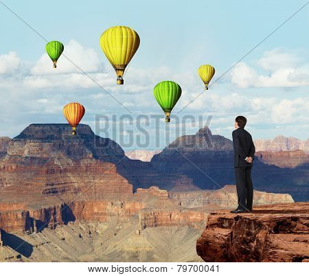 Buisnessman Looking To Aerostat