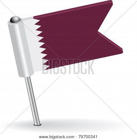 Qatar pin icon flag. Vector illustration