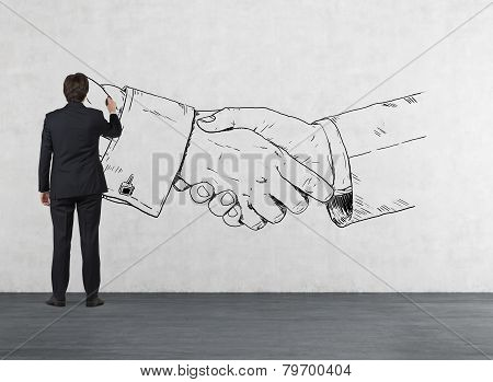Man Drawing Handshake