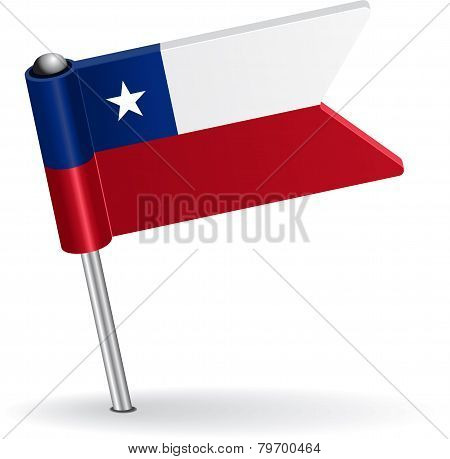 Chilean pin icon flag. Vector illustration