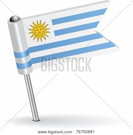Uruguay pin icon flag. Vector illustration