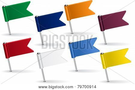 Set of pin icon flags. Vector illustration