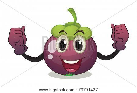 Illustration of a mangosteen with facial expression