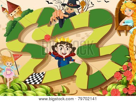 Illustration of a board game with fairy tale background
